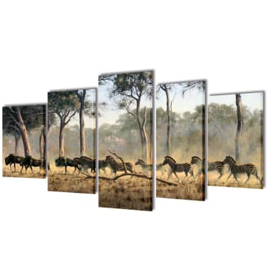 "Canvas Wall Print Set Zebras 79"" x 39""[1/3]"