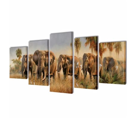 "Canvas Wall Print Set Elephants 39"" x 20""[1/3]"
