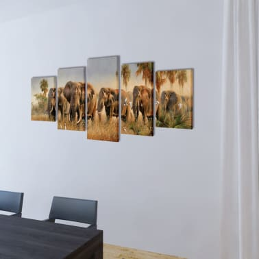 "Canvas Wall Print Set Elephants 79"" x 39""[2/3]"