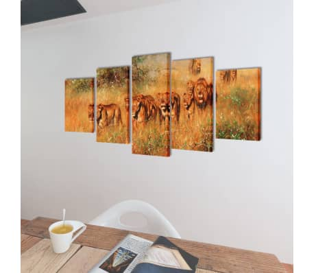 "Canvas Wall Print Set Lions 39"" x 20""[2/3]"