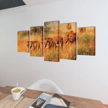 "Canvas Wall Print Set Lions 79"" x 39""[2/3]"