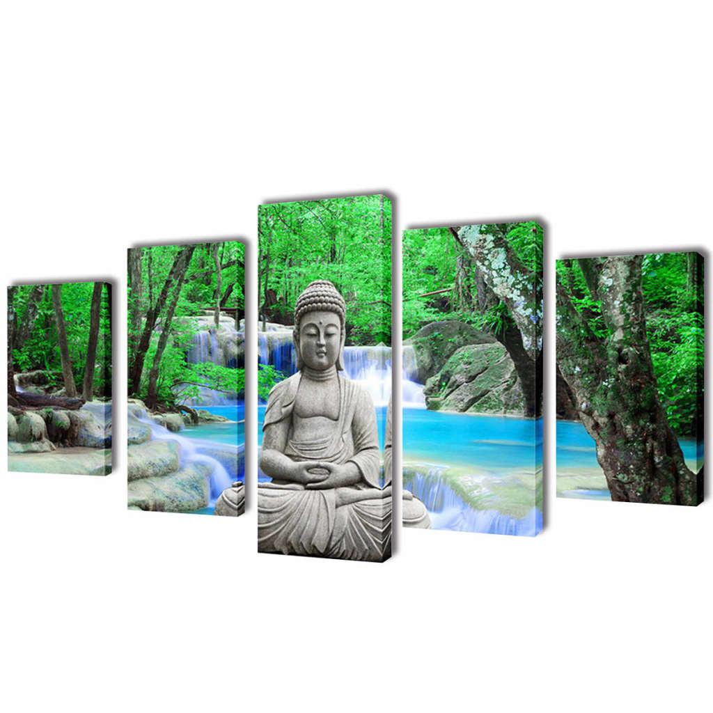 Set tablouri de pânză imprimate Buddha, 100 x 50 cm imagine vidaxl.ro