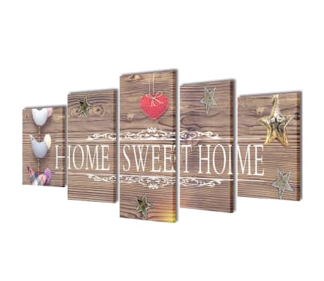 "Canvas Wall Print Set Home Sweet Home Design 39"" x 20""[1/3]"