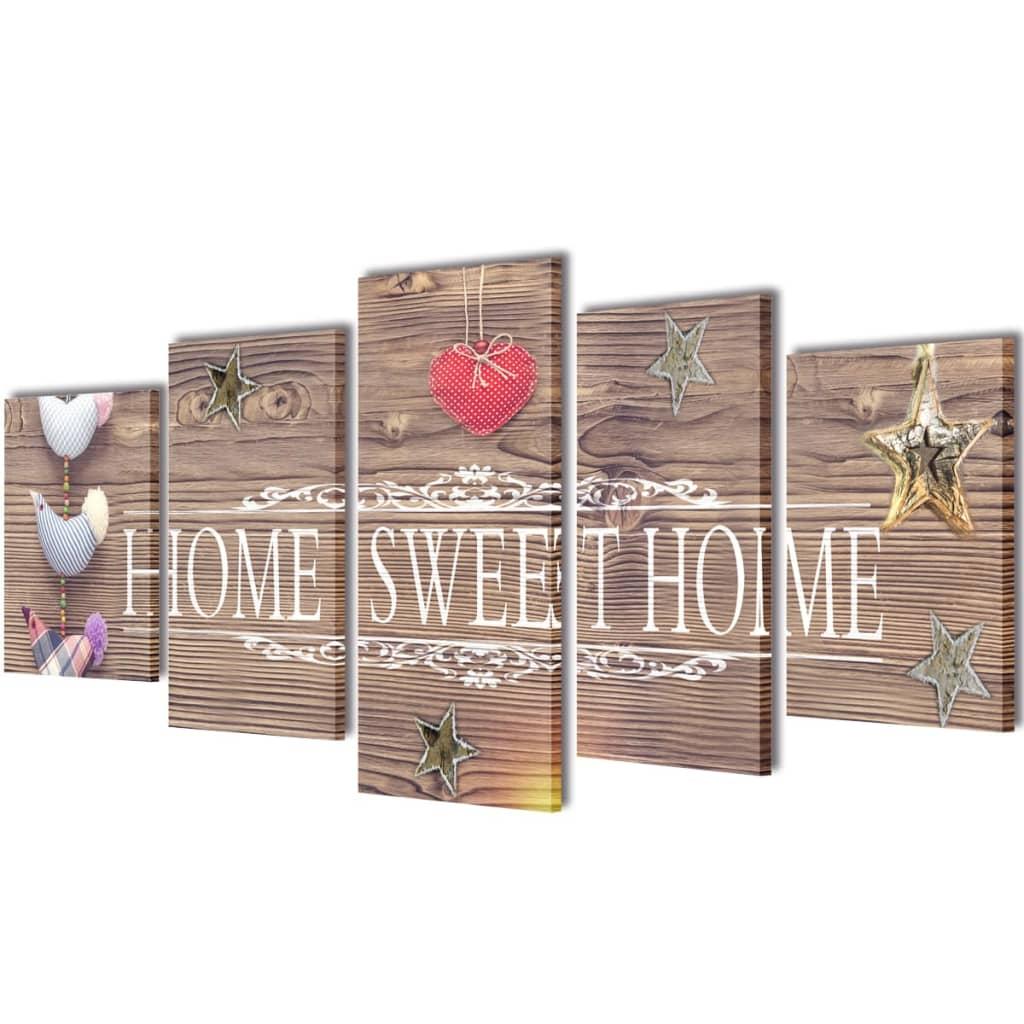 Set tablouri de perete cu imprimeu Home Sweet Home, 200 x 100 cm imagine vidaxl.ro