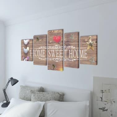 "Canvas Wall Print Set Home Sweet Home Design 79"" x 39""[2/3]"