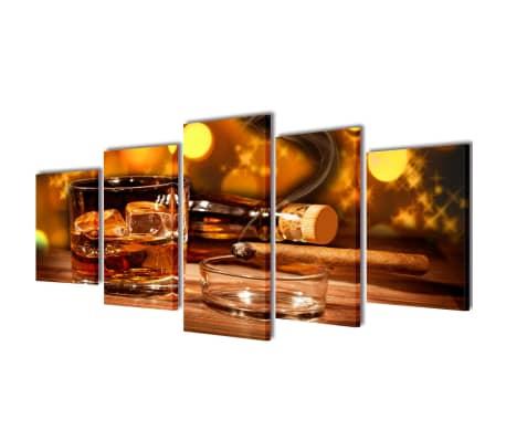 Canvas Wall Print Set Whiskey and Cigar 100 x 50 cm