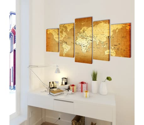 "Canvas Wall Print Set World Map 39"" x 20""[2/3]"