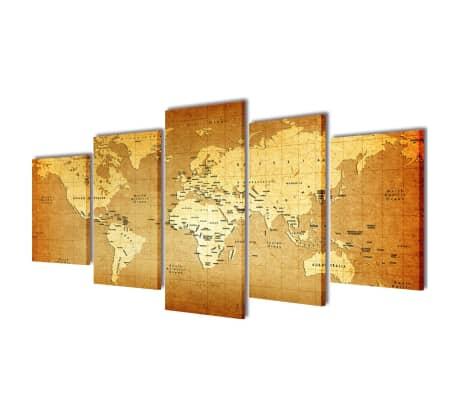 """Set de toiles murales imprimées """"Carte du monde"""" 200 x 100 cm[1/3]"""