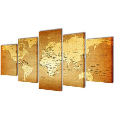 "Canvas Wall Print Set World Map 79"" x 39""[1/3]"