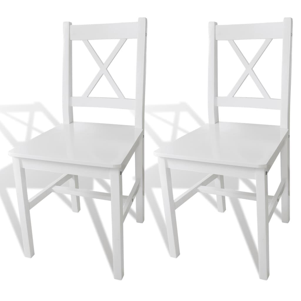 vidaXL Καρέκλες Τραπεζαρίας 2 τεμ. Λευκές Ξύλινες