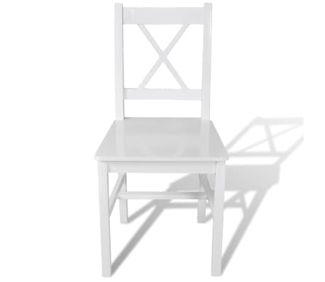Vidaxl 2 pz sedie da pranzo in legno bianche for Sedie bianche legno
