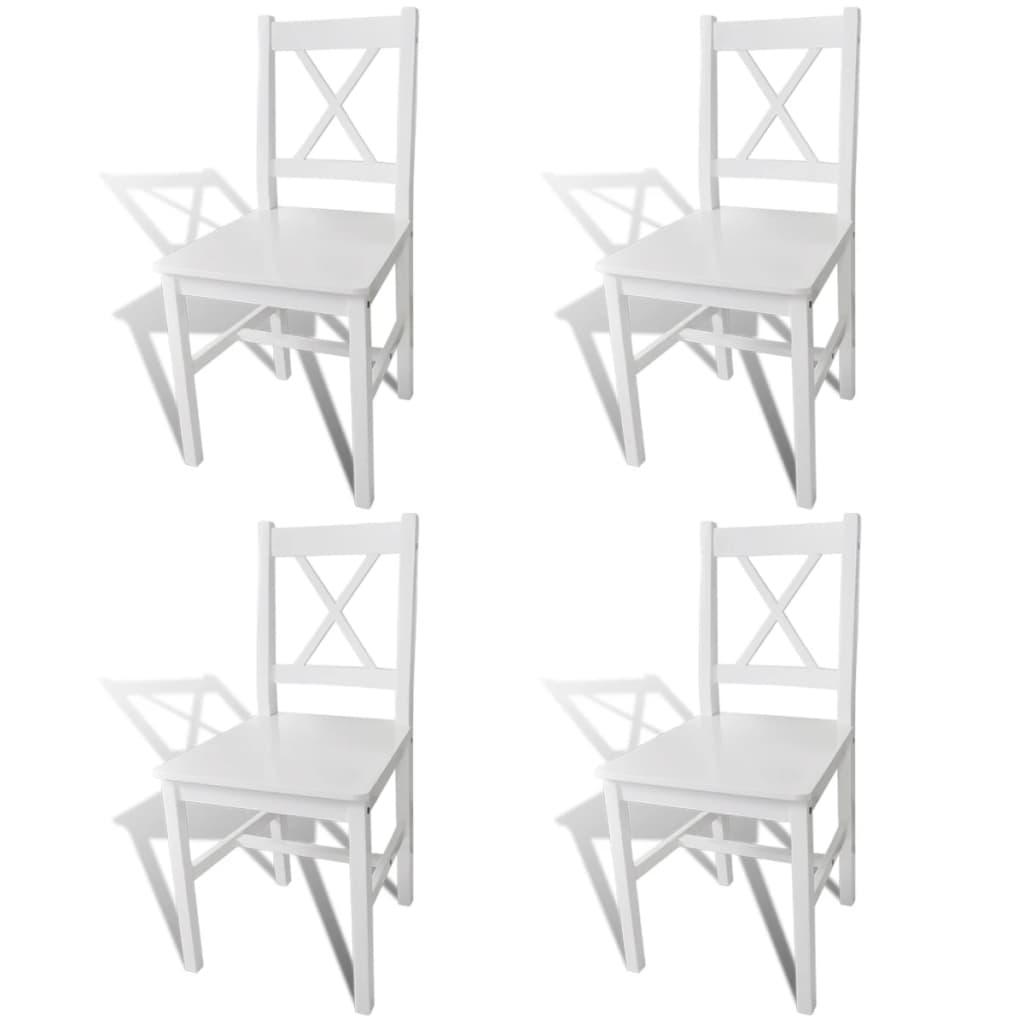 vidaXL Καρέκλες Τραπεζαρίας 4 τεμ. Λευκές Ξύλινες