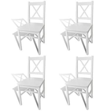vidaXL Sillas de comedor 4 unidades de madera blanca[1/5]