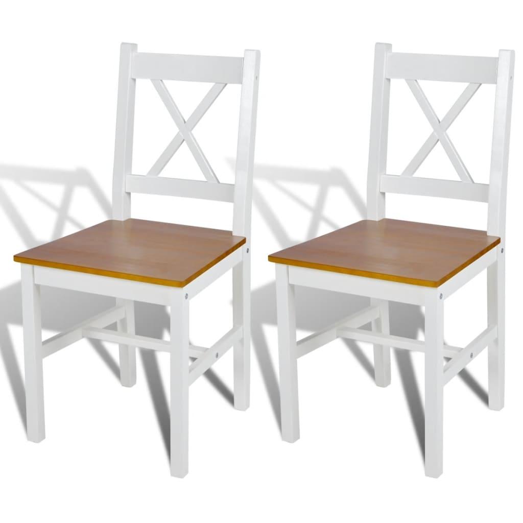 vidaXL Καρέκλες Τραπεζαρίας 2 τεμ. Λευκές από Ξύλο Πεύκου