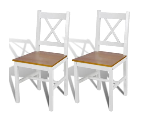 vidaXL Dining Chairs 2 pcs White Pinewood