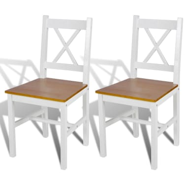 vidaXL Dining Chairs 2 pcs White Pinewood[1/5]