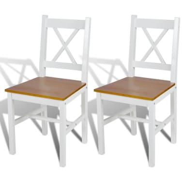vidaXL Drevené jedálenské stoličky, 2 ks, biela a prírodná farba[1/5]