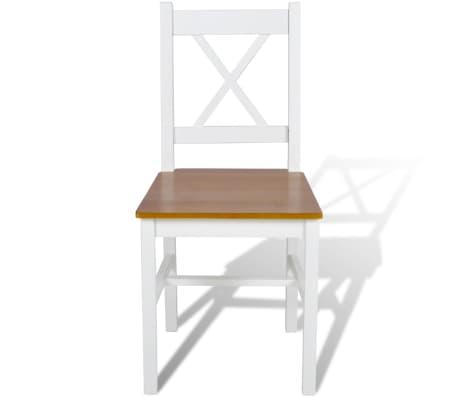 vidaXL Drevené jedálenské stoličky, 2 ks, biela a prírodná farba[2/5]