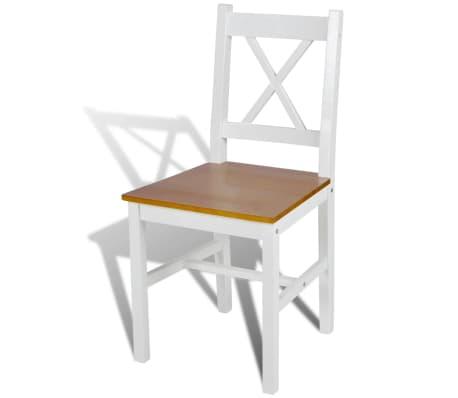 vidaXL Drevené jedálenské stoličky, 2 ks, biela a prírodná farba[3/5]