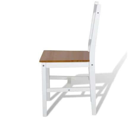 vidaXL Drevené jedálenské stoličky, 2 ks, biela a prírodná farba[4/5]