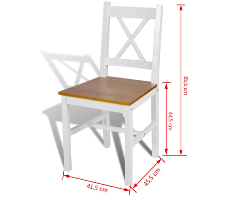 vidaXL Jedálenské stoličky 2 ks, biele, borovicové drevo[5/5]