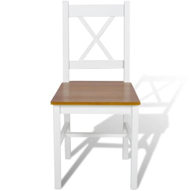 vidaXL Dining Chairs 2 pcs White Pinewood[2/5]