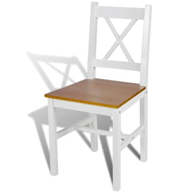 vidaXL Dining Chairs 2 pcs White Pinewood[3/5]