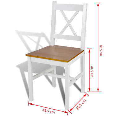 vidaXL Drevené jedálenské stoličky, 2 ks, biela a prírodná farba[5/5]