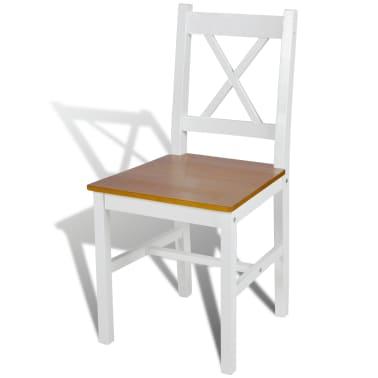 vidaXL Dining Chairs 4 pcs White Pinewood[3/5]