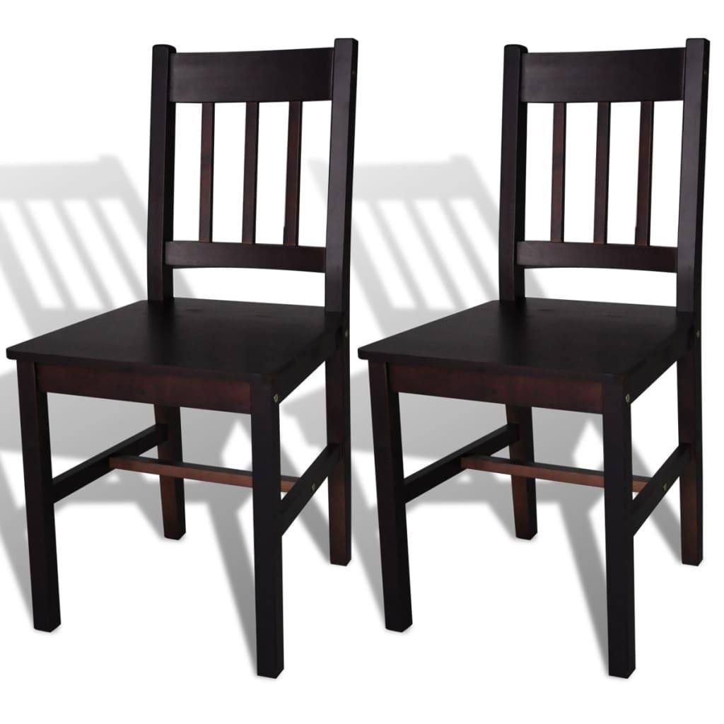 vidaXL Καρέκλες Τραπεζαρίας 2 τεμ. Καφέ από Ξύλο Πεύκου