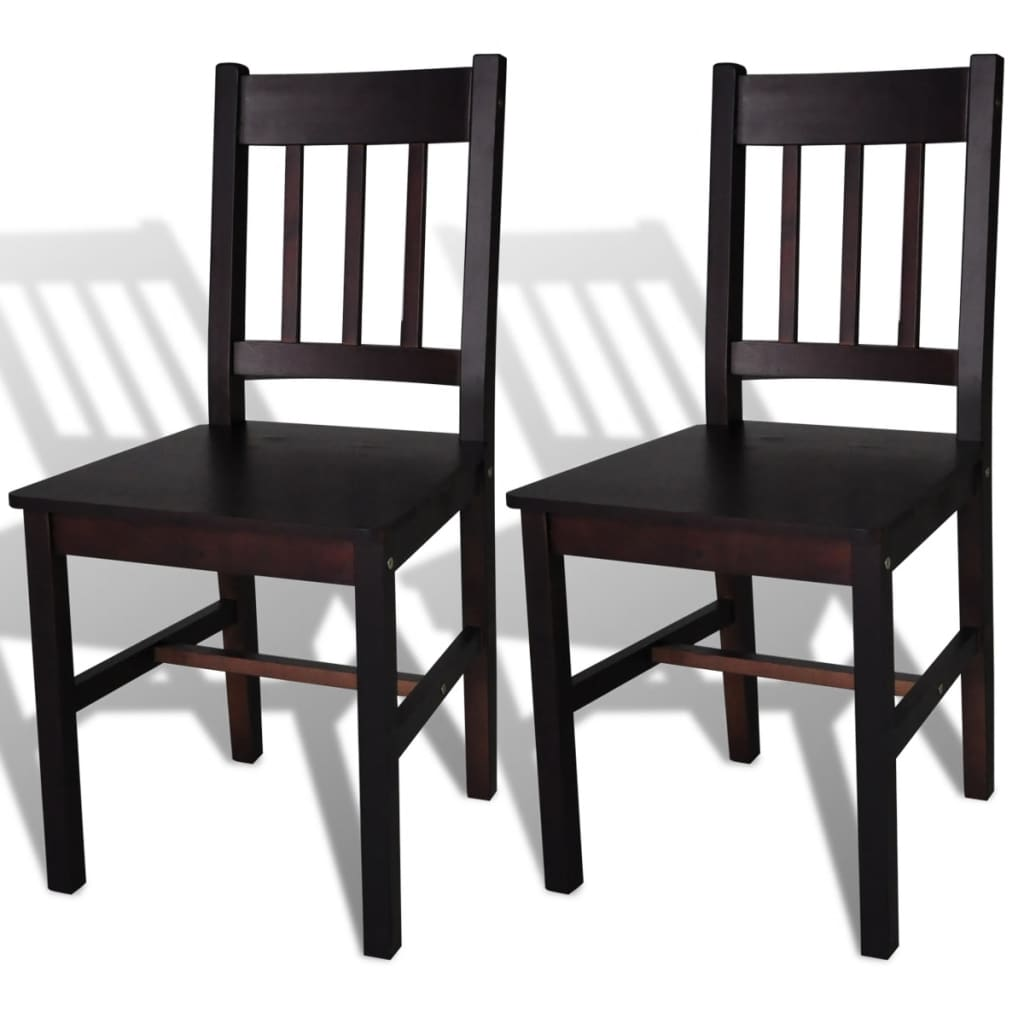 vidaXL Καρέκλες Τραπεζαρίας 2 τεμ. Σκούρο Καφέ από Ξύλο Πεύκου