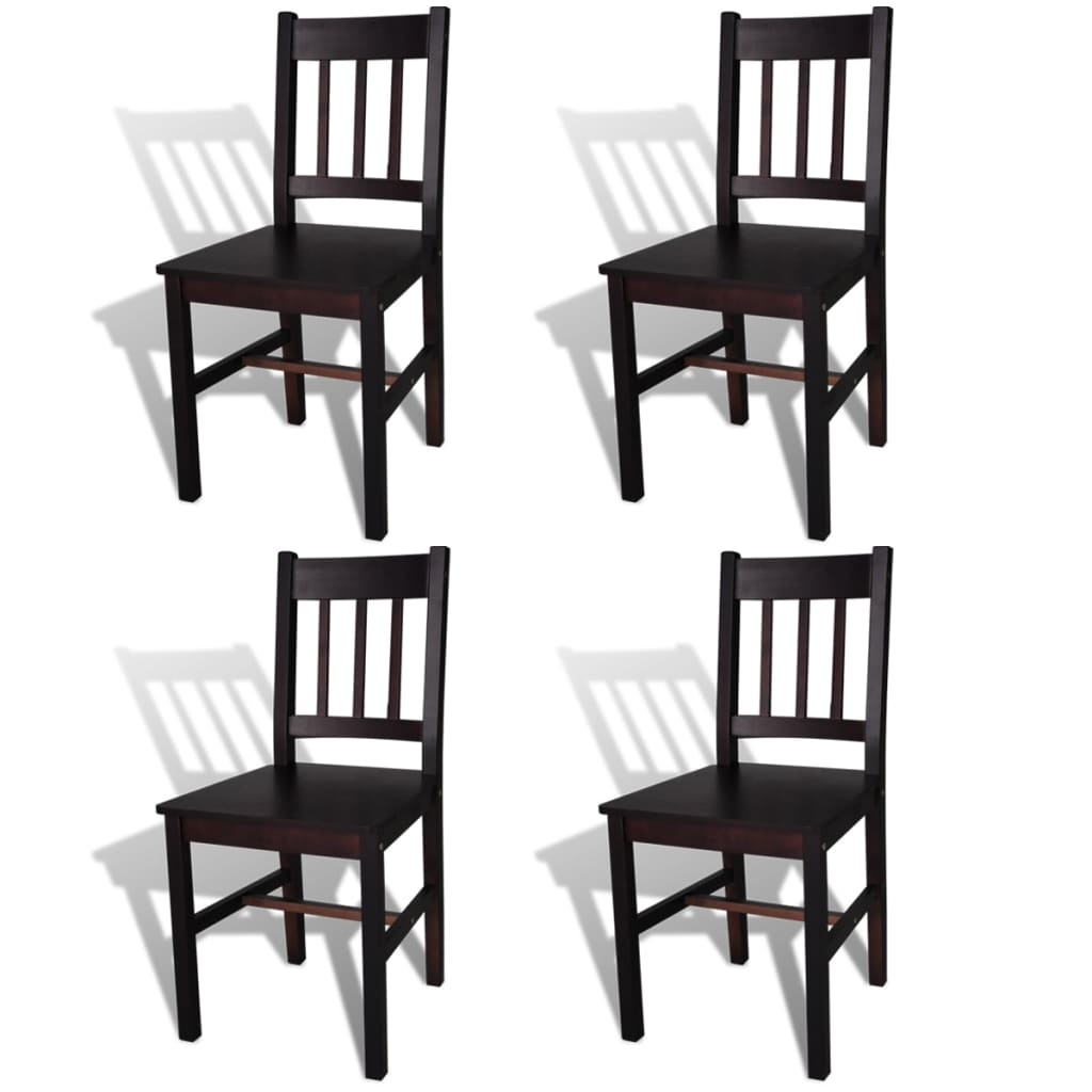 vidaXL Καρέκλες Τραπεζαρίας 4 τεμ. Καφέ Ξύλινες