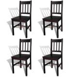 vidaXL Dining Chairs 4 pcs Brown Pinewood
