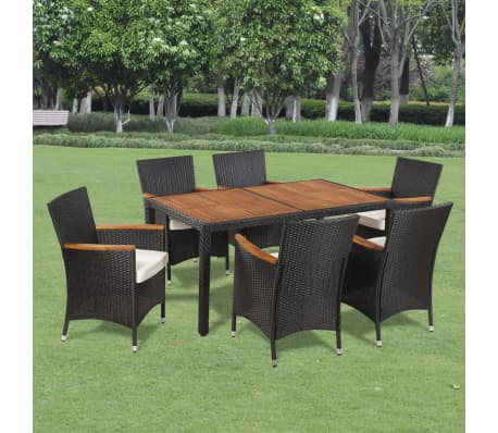 vidaxl poly rattan garden dining set 6 chairs and a table wooden top - Garden Furniture 6 Seats