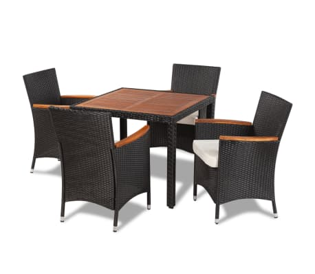 vidaXL Outdoor Dining Set Nine Pieces with Wooden Top Black Poly Rattan[2/9]