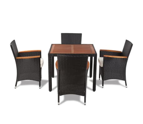 vidaXL 5 Piece Outdoor Dining Set with Cushions Poly Rattan Black[5/9]