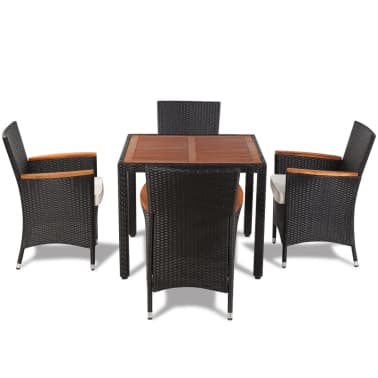 vidaXL Outdoor Dining Set Nine Pieces with Wooden Top Black Poly Rattan[5/9]