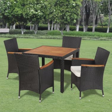 vidaXL Outdoor Dining Set Nine Pieces with Wooden Top Black Poly Rattan[1/9]