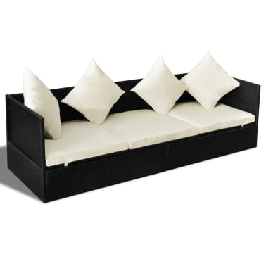 vidaXL Outdoor Sofa with Cushion & Pillow Poly Rattan Black[2/8]