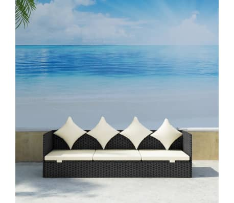 vidaXL Outdoor Sofa with Cushion & Pillow Poly Rattan Black[3/8]