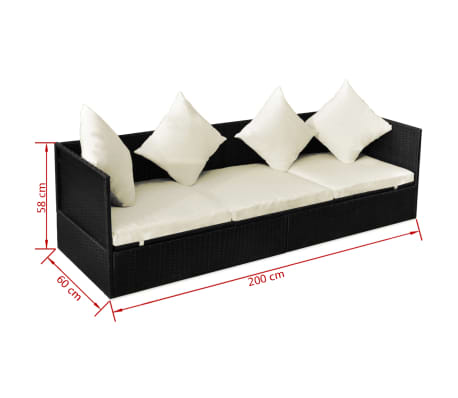 vidaXL Outdoor Sofa with Cushion & Pillow Poly Rattan Black[8/8]