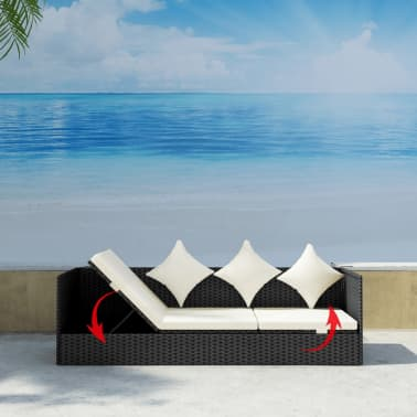 vidaXL Outdoor Sofa with Cushion & Pillow Poly Rattan Black[4/8]