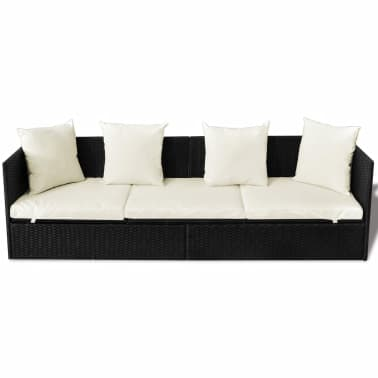 vidaXL Outdoor Sofa with Cushion & Pillow Poly Rattan Black[6/8]