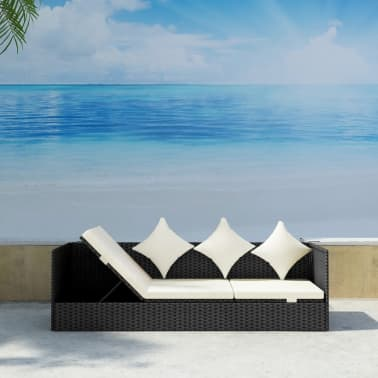 vidaXL Outdoor Sofa with Cushion & Pillow Poly Rattan Black[1/8]