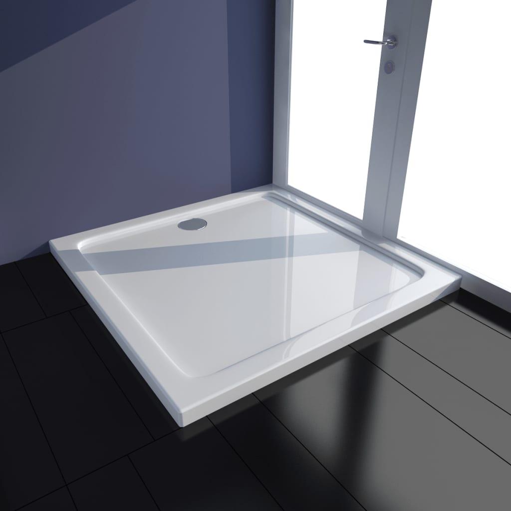 vidaXL Rektangulær ABS dusj base hvit 70 x 100 cm