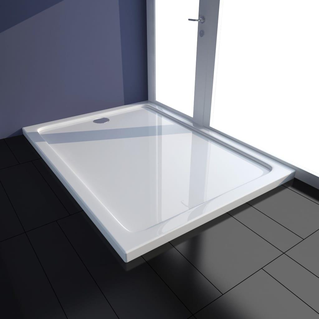 vidaXL Rektangulær ABS dusj base hvit 80 x 110 cm