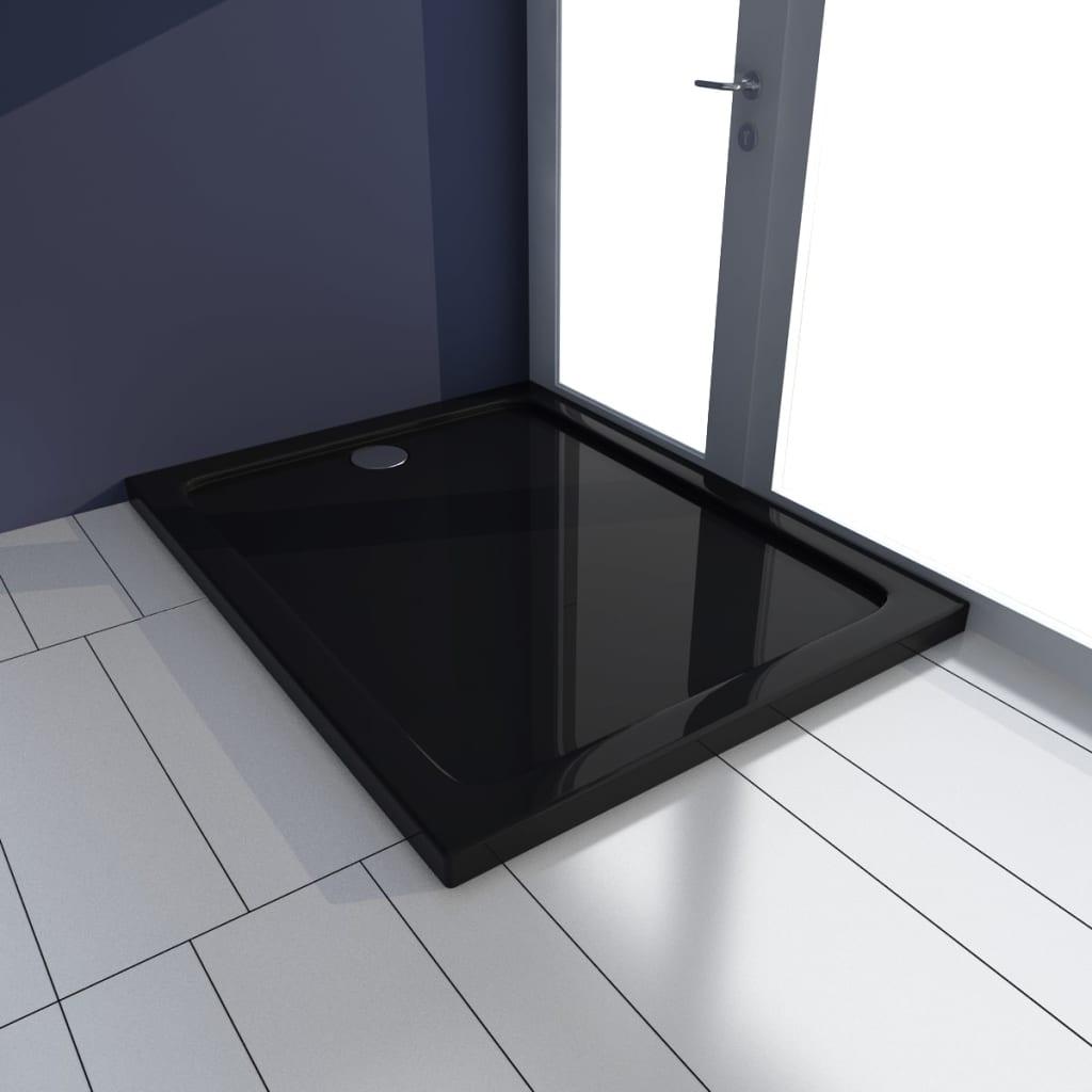 vidaXL Rektangulær ABS dusjplate/bunn 70 x 90 cm svart