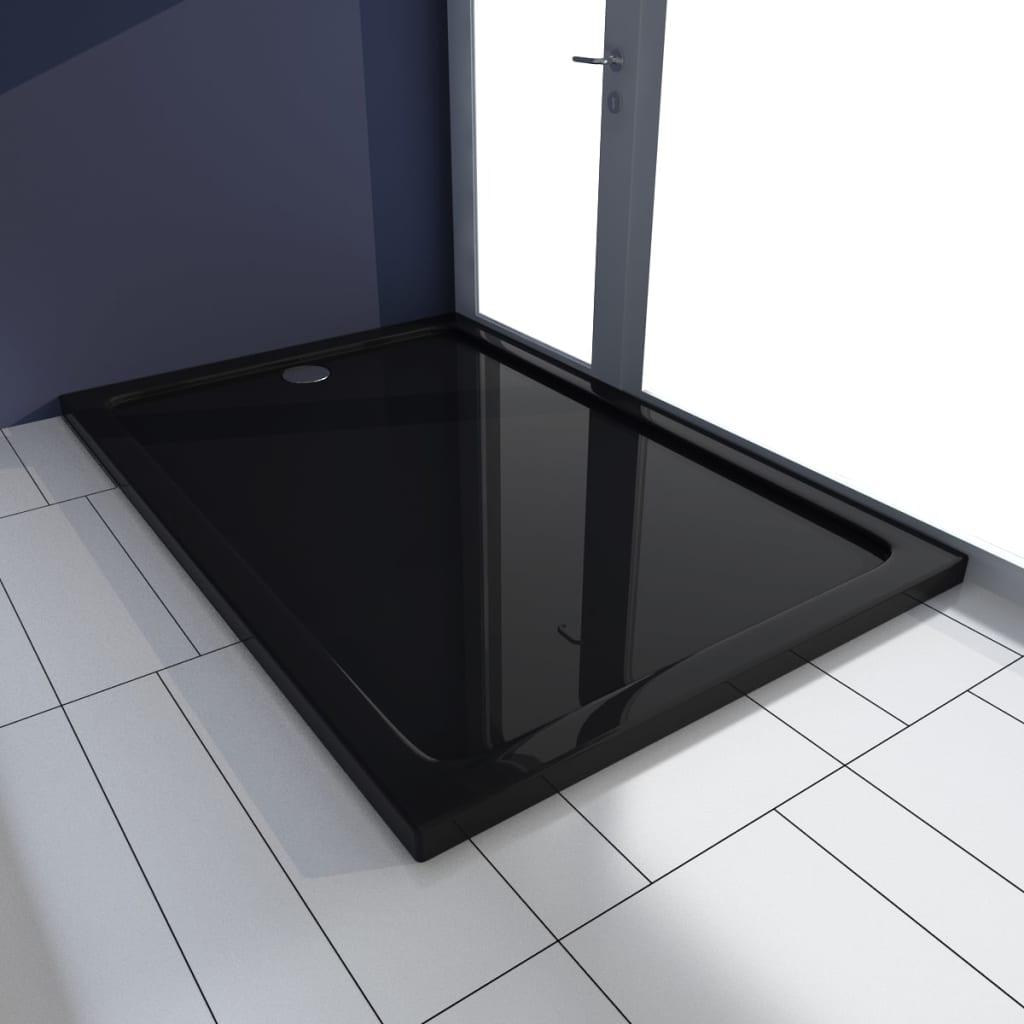 vidaXL Cădiță de duș dreptunghiulară din ABS, negru, 80 x 120 cm poza 2021 vidaXL