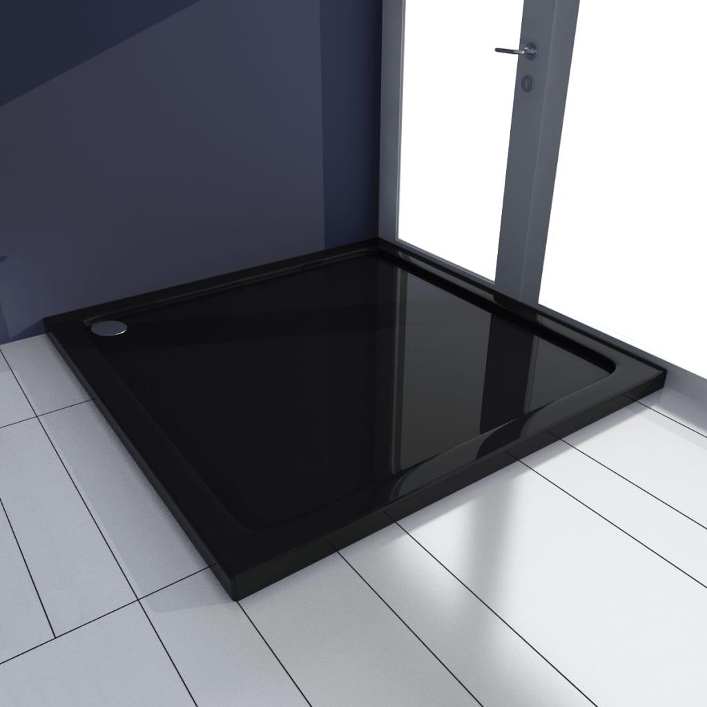 vidaXL Rektangulær ABS Dusjplate/bunn svart 90 x 90 cm