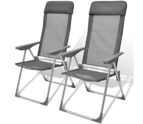 Foldable Adjustable Camping Chairs Aluminum Set of 2[1/6]